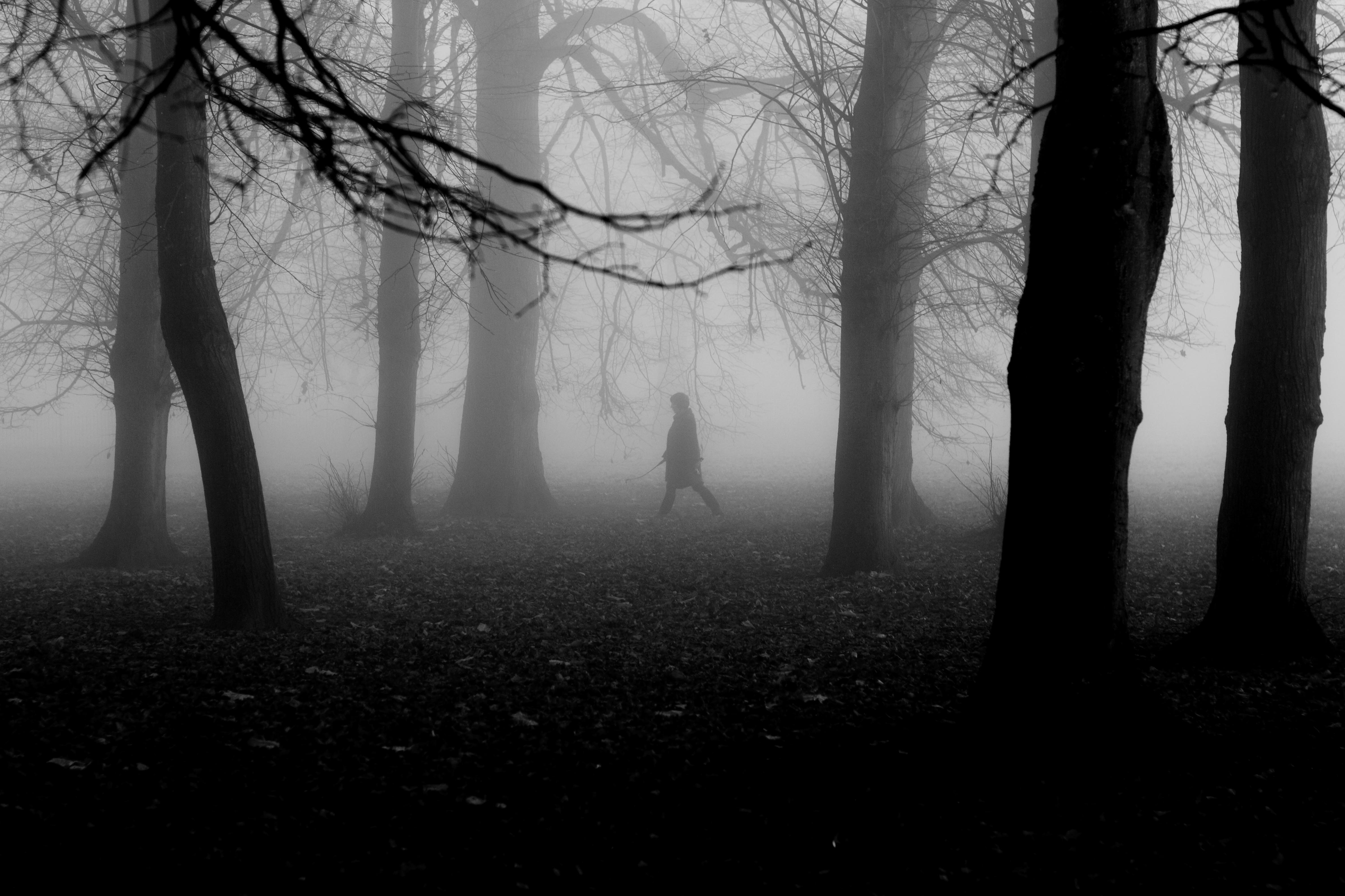 Black and white photography dark december england fog landscape mist morning mysterious norfolk walk winter woman